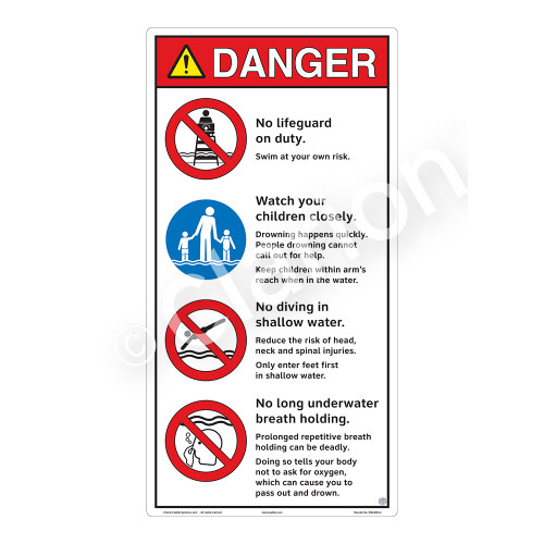 Danger/No Lifeguard on Duty Sign (WSS3404-27b-e) )