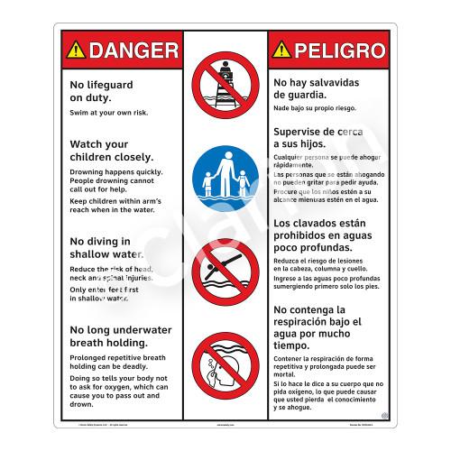 Danger/No Lifeguard on Duty Sign (WSS3404-26b-esm) )