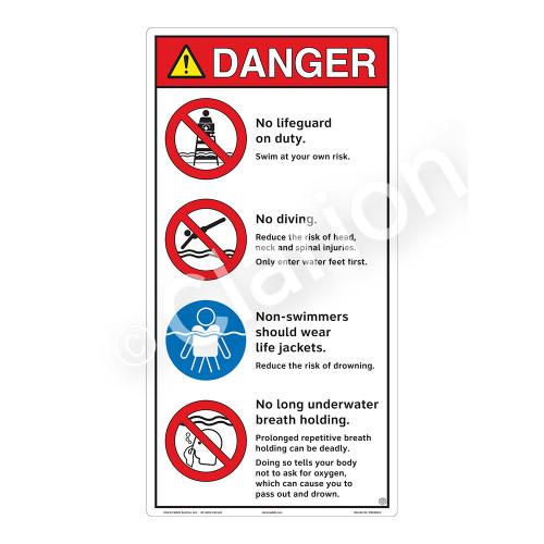 Danger/No Lifeguard on Duty Sign (WSS3405-27b-e) )