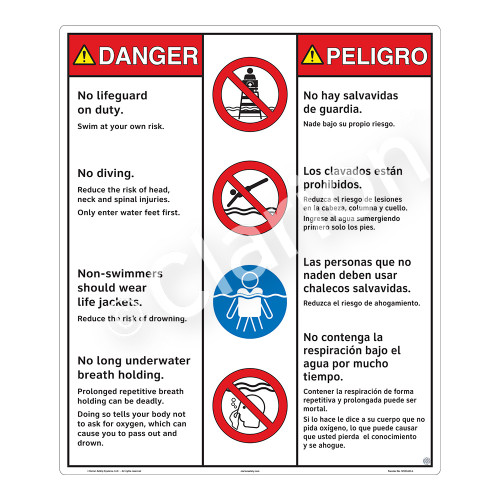 Danger/No Lifeguard on Duty Sign (WSS3405-26b-esm) )