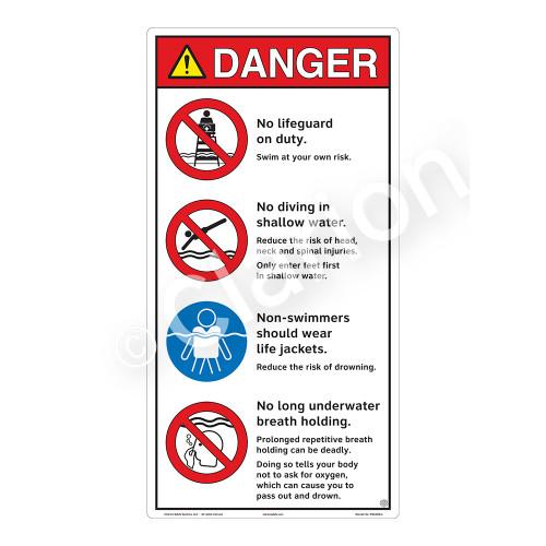 Danger/No Lifeguard on Duty Sign (WSS3406-27b-e) )