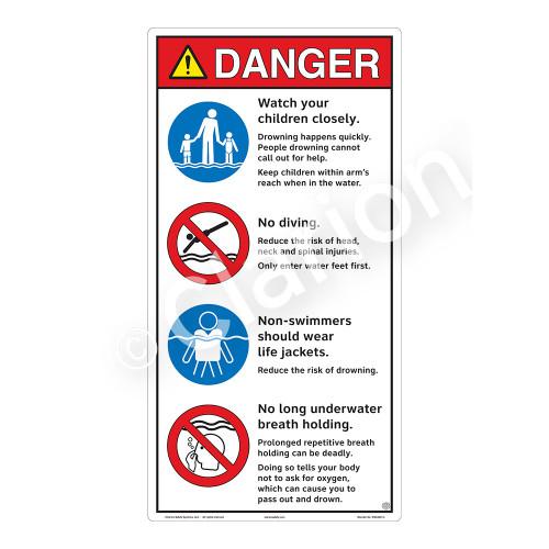 Danger/Watch Your Children Sign (WSS3407-27b-e) )