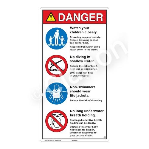 Danger/Watch Your Children Sign (WSS3408-27b-e) )