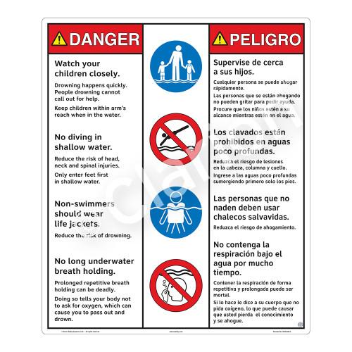 Danger/Watch Your Children Sign (WSS3408-26b-esm) )
