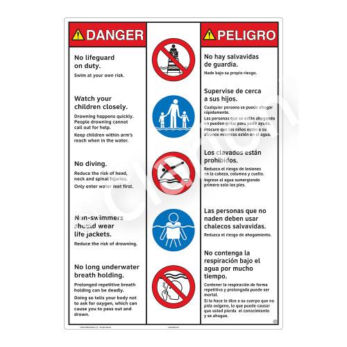 Danger/No Lifeguard on Duty Sign (WSS3501-30b-esm) )