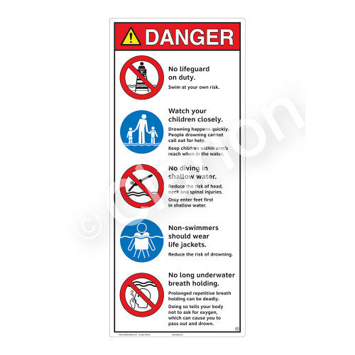 Danger/No Lifeguard on Duty Sign (WSS3502-31b-e) )