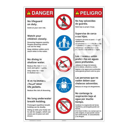 Danger/No Lifeguard on Duty Sign (WSS3502-30b-esm) )