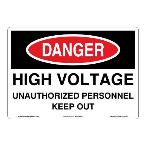 Danger/High Voltage Sign (OS1014DH-)