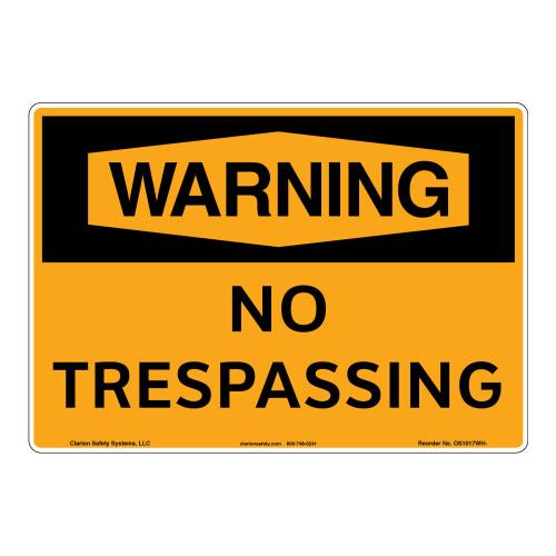 Warning/No Trespassing Sign (OS1017WH-)