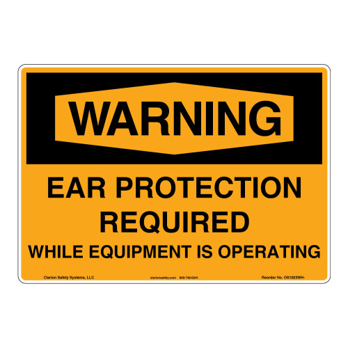 Warning/Ear Protection Sign (OS1023WH-)