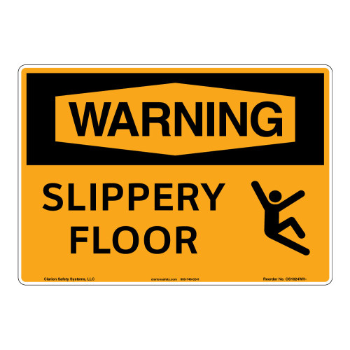 Warning/Slippery Floor Sign (OS1024WH-)