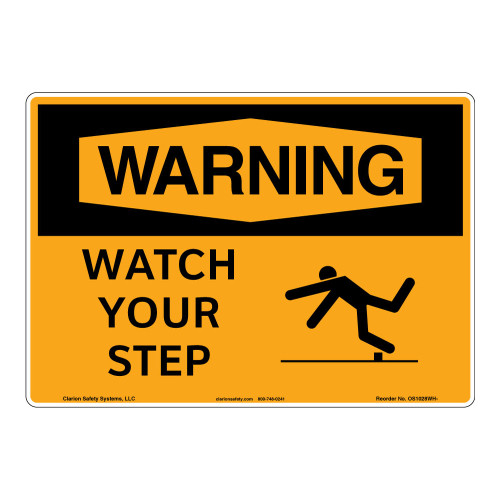 Warning/Watch Your Step Sign (OS1028WH-)