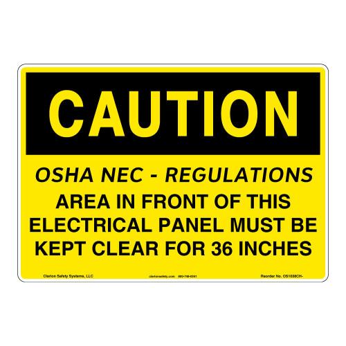 Caution/OSHA - NEC Sign (OS1038CH-)