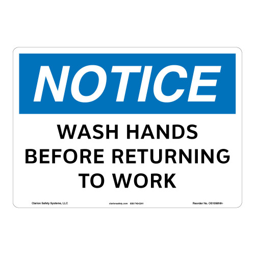 Notice/Wash Hands Sign (OS1056NH-)