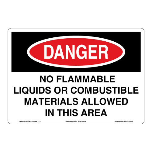 Danger/No Flammable Liquids Sign (OS1078DH-)