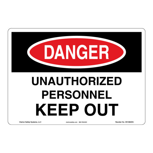 Danger/Unauthorized Personnel Sign (OS1082DH-)