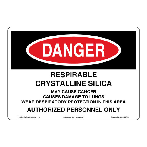 Danger/Crystalline Silica Sign (OS1127DH-)