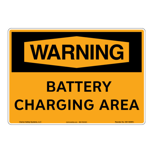 Warning/Battery Charging Area Sign (OS1130WH-)