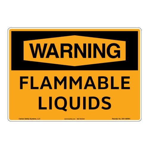 Warning/Flammable Liquids Sign (OS1138WH-)