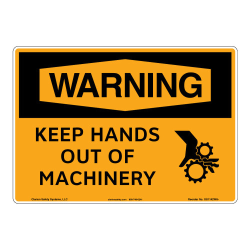 Warning/Keep Hands Out of Machinery Sign (OS1142WH-)
