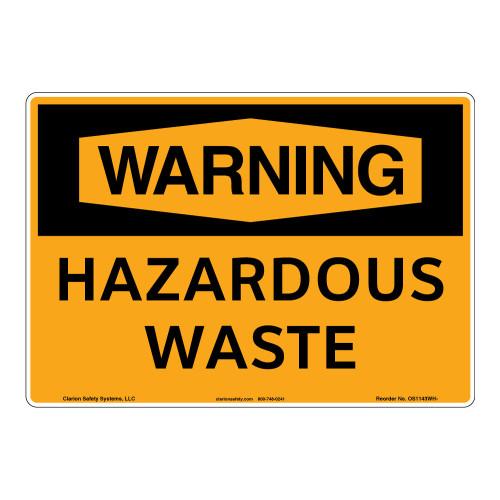 Warning/Hazardous Waste Sign (OS1143WH-)