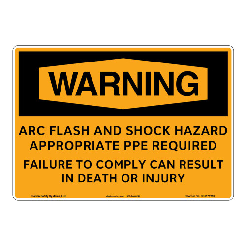 Warning/Arc Flash Sign (OS1171WH-)