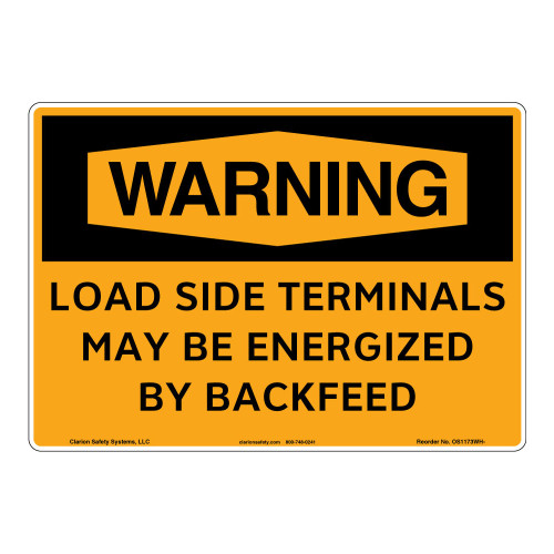 Warning/Load Side Terminals Sign (OS1173WH-)
