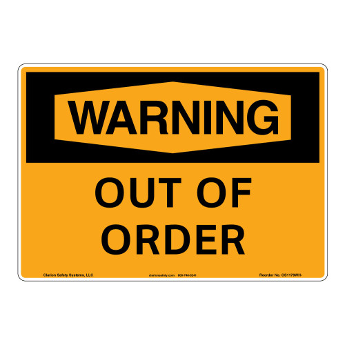 Warning/Out of Order Sign (OS1179WH-)