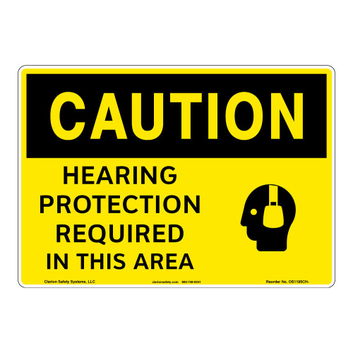 Caution/Hearing Protection Required Sign (OS1195CH-)
