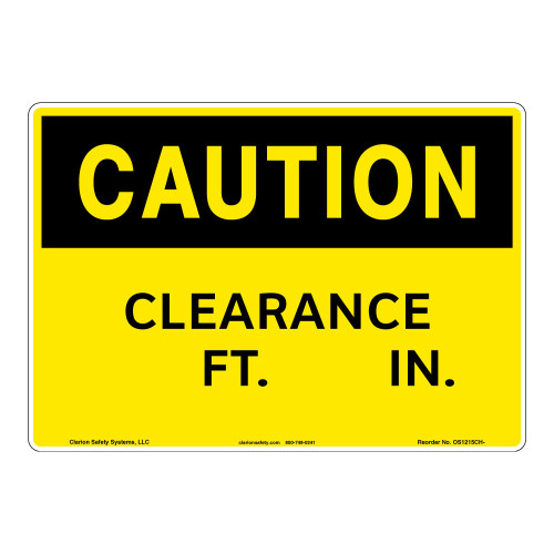 Caution/Clearance Sign (OS1215CH-)
