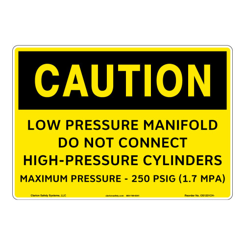 Caution/Low Pressure Manifold Sign (OS1231CH-)