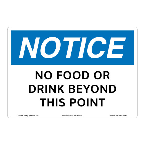 Notice/No Food or Drink Sign (OS1238NH-)