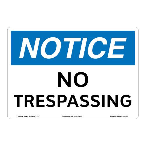 Notice/No Trespassing Sign (OS1245NH-)
