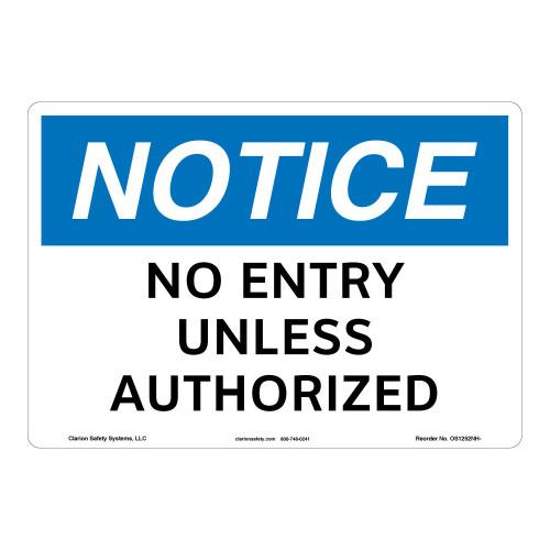 Notice/No Entry Sign (OS1252NH-)