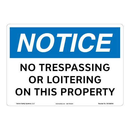 Notice/No Trespassing Sign (OS1260NH-)