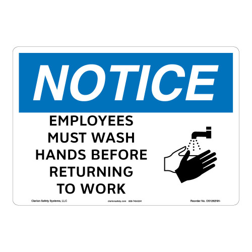 Notice/Employees Must Wash Hands Sign (OS1262NH-)