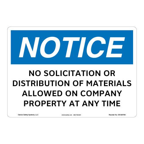 Notice/No Solicitation Sign (OS1267NH-)