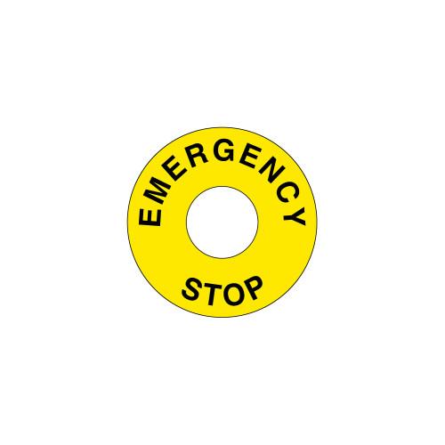 Emergency Stop (90mm Circle w/22.5mm Hole) Label (ES90-22.5)
