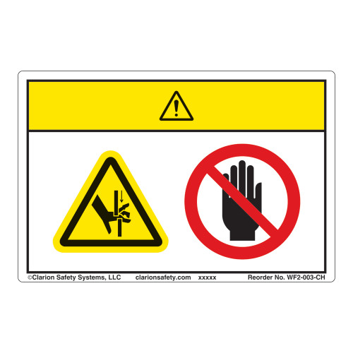 Caution/Crush Hazard Label (WF2-003-CH)