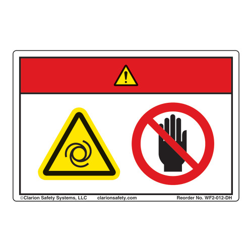 Danger/Equipment Starts Automatically/Stay Clear Label (WF2-012-DH)