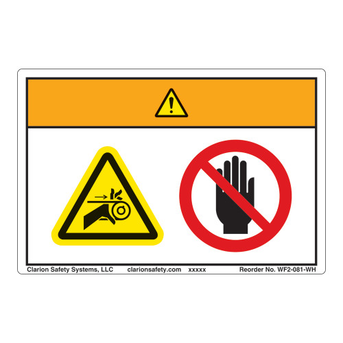 Warning/Pinch Point Label (WF2-081-WH)