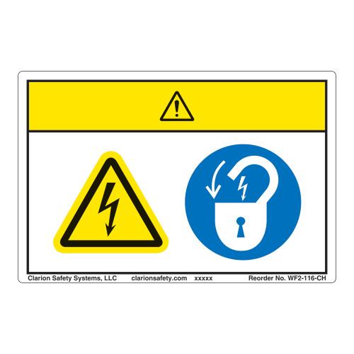 Caution/Hazardous Voltage Label (WF2-116-CH)