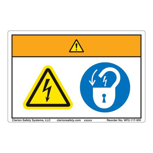 Warning/Hazardous Voltage Label (WF2-117-WH)