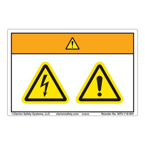 Warning/Electric Shock Hazard Label (WF2-119-WH)