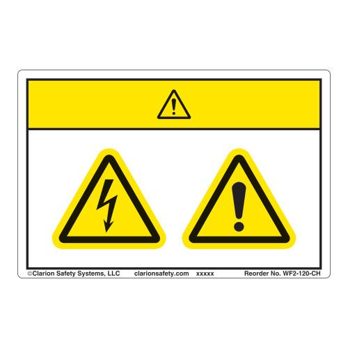 Caution/Electric Shock Hazard Label (WF2-120-CH)