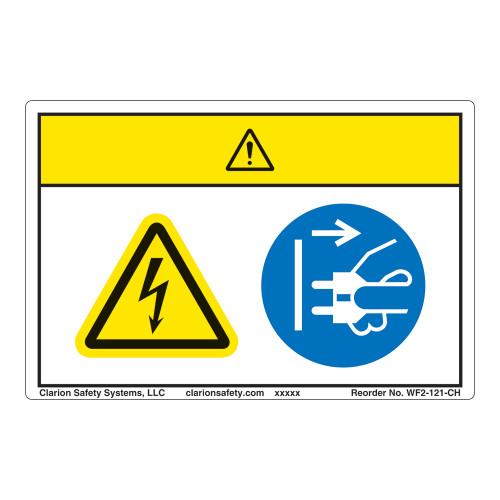 Caution/Hazardous Voltage Label (WF2-121-CH)