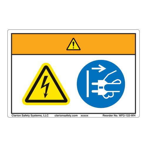 Warning/Hazardous Voltage Label (WF2-122-WH)