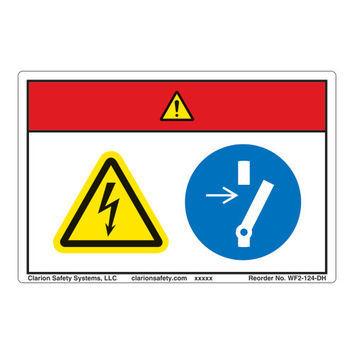 Danger/Hazardous Voltage Label (WF2-124-DH)