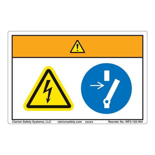 Warning/Hazardous Voltage Label (WF2-125-WH)