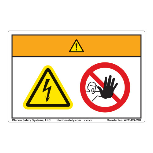 Warning/Hazardous Voltage Inside Label (WF2-127-WH)